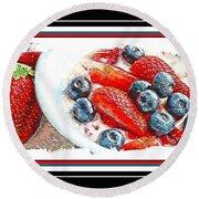 Berries And Yogurt Illustration - Food - Kitchen Round Beach Towel