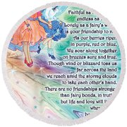 Berry Fairy Friends Poem Round Beach Towel