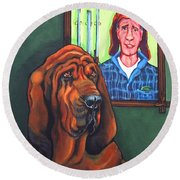Bloodhound - Bervil And Blue Round Beach Towel