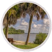 Beside The Shore Round Beach Towel