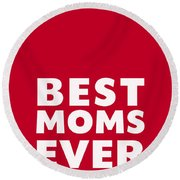 Best Moms Card- Red- Two Moms Mother's Day Card Round Beach Towel