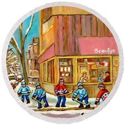Best Sellers Original Montreal Paintings For Sale Hockey At Beauty's By Carole Spandau Round Beach Towel