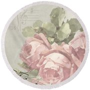 Best Wishes Vintage Roses Card  Round Beach Towel