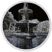 Bethesda Fountain Abstract Round Beach Towel