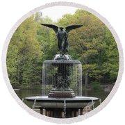 Bethesda Fountain Central Park Nyc Round Beach Towel