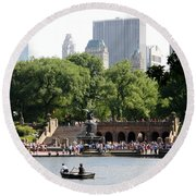 Bethesda Terrace And Fountian Nyc Round Beach Towel