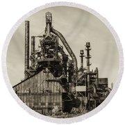 Bethlehem Pa Steel Plant   Round Beach Towel