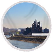 Bethlehem Steel And The Lehigh River Round Beach Towel