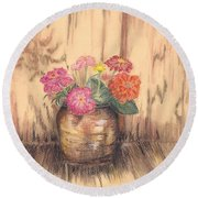 Betsy's Flowers 2 Round Beach Towel
