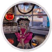 Betty Boop At Albuquerque's 66 Diner Round Beach Towel