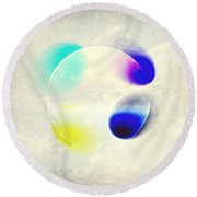 Between Clouds Digital Art Round Beach Towel