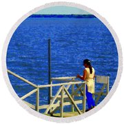 Between Sky And Sea Lachine Canal Viewing Pier Picturesque Water Scenes Montreal Art Carole Spandau Round Beach Towel