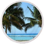Between The Palms Round Beach Towel