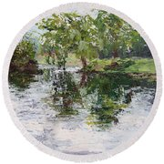 Bevier Park In The Rain Round Beach Towel