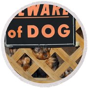 Beware Of Dog Round Beach Towel by John Dauer