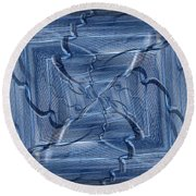 Beyond The Barrier Blues Round Beach Towel