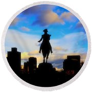 George Washington Statue - Boston Round Beach Towel by Joann Vitali