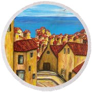 Biagi In Tuscany Round Beach Towel