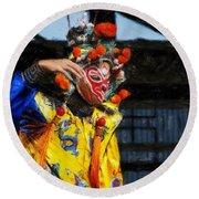 Bian Jiang Dancer Acanthus Round Beach Towel