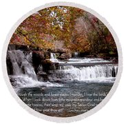 Bible Verse And Inspirational Greeting Card Autumn Fine Art Photography Prints And Posters. Round Beach Towel
