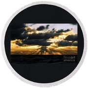 Crepuscular Biblical Rays At Dusk In The Gulf Of Mexico Round Beach Towel