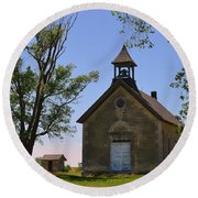 Bichet School In Marion County In Kansas Round Beach Towel
