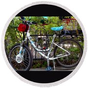 Bicycle At St Francis Cafe Round Beach Towel