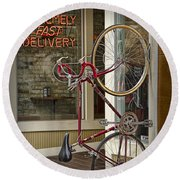 Bicycle Attached To Wall Outside Of Fast Food Restaurant Round Beach Towel