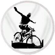 Bicycle - Black And White Pixels Round Beach Towel