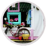 Bicycle By Antique Shop Round Beach Towel