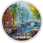 Bicycle In Amsterdam Round Beach Towel by Leonid Afremov
