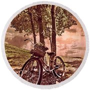 Bicycle In The Park Round Beach Towel