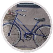 Bicycle Leaning On A Wall Round Beach Towel