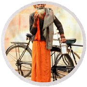 Bicycle Man Round Beach Towel