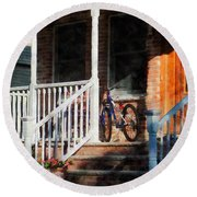Bicycle On Porch Round Beach Towel