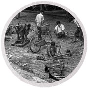 Bicycle Repair In Amarapura Round Beach Towel