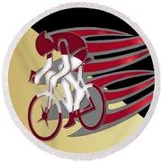 Bicycle Rider 01 Round Beach Towel