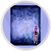Bicycle Rider On Blue Background Round Beach Towel