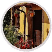 Bicycle Under The Porch Round Beach Towel