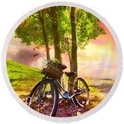 Bicycle Under The Tree Round Beach Towel