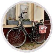Bicycle With Baby Seat At Doorway Bruges Belgium Round Beach Towel