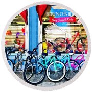 Bicycles And Chocolate Round Beach Towel