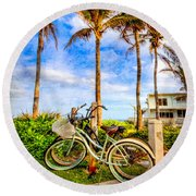 Bicycles Under The Palms Round Beach Towel