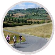 Bicycling In Tuscany Round Beach Towel