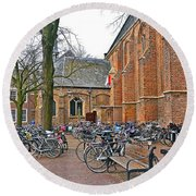 Bicycling To Church Round Beach Towel
