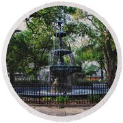 Bienville Square Fountain Closeup Round Beach Towel