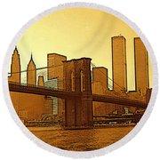New York City - Big Apple Sunrise Round Beach Towel