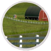 Big Barn Little Companion  Round Beach Towel