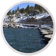Big Bear Dam - California Round Beach Towel