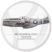 Big Beautiful Doll P-51d Mustang - White Background Round Beach Towel